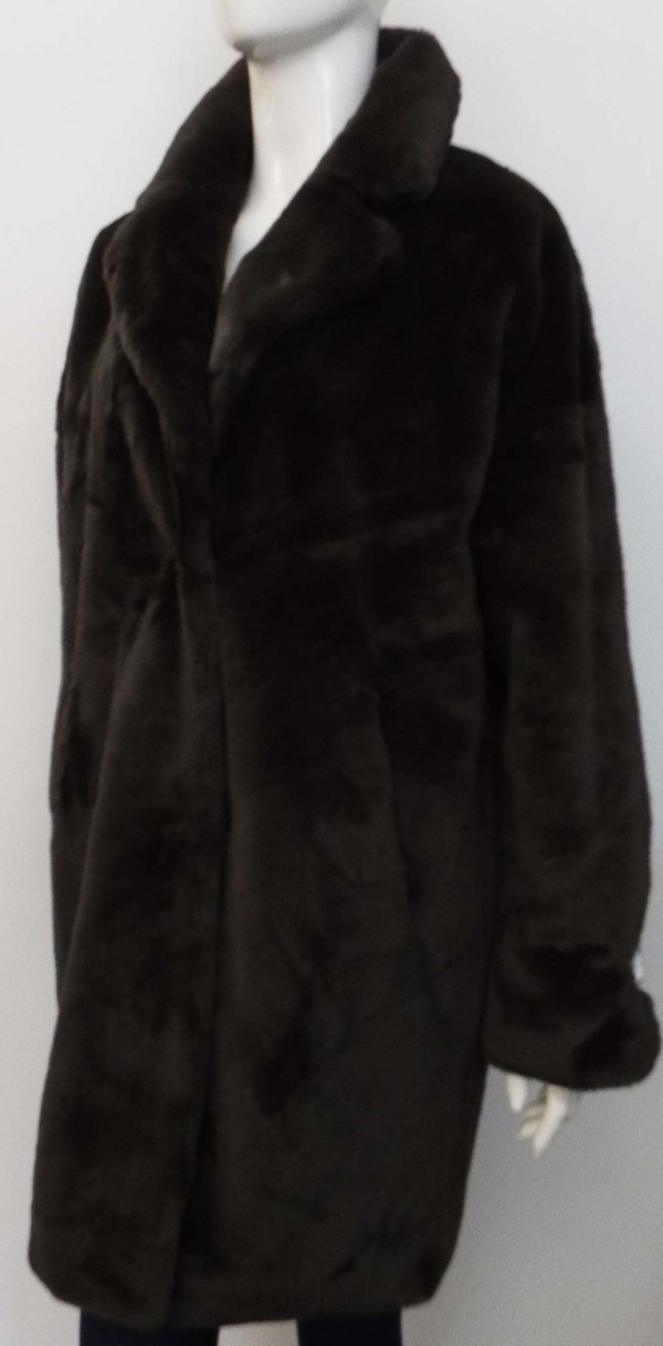 JOELA FAUX FUR COAT IN DARK CHOCOLATE