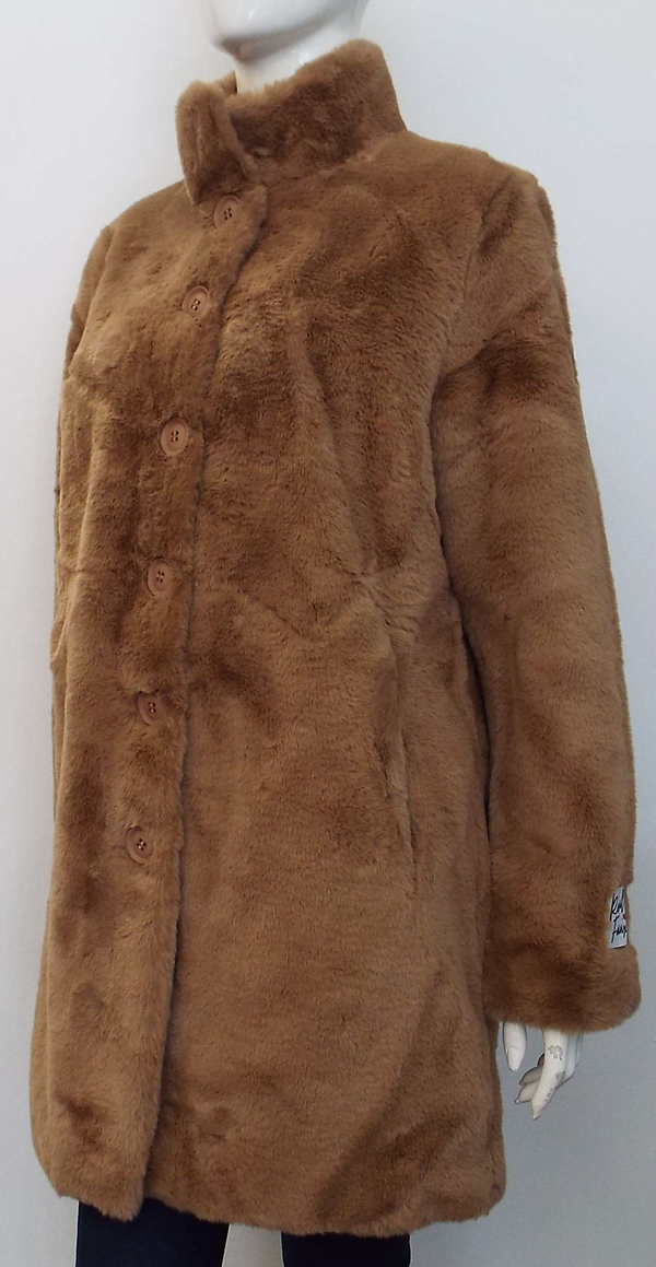 NONNA FAUX FUR COAT IN WOOD SMOKE