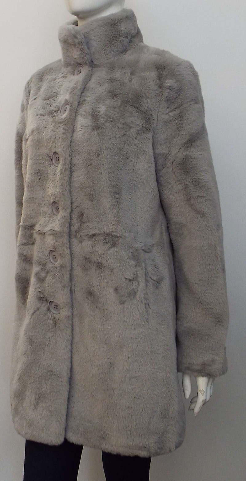 NONNA FAUX FUR COAT IN SILVER GREY