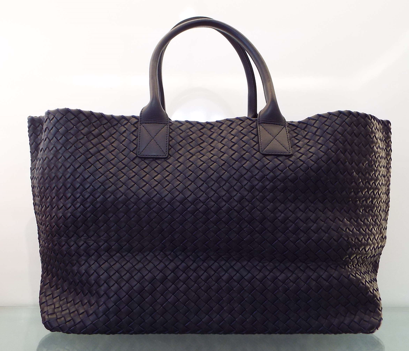 Intrecciato Woven Leather Tote Bag In Navy