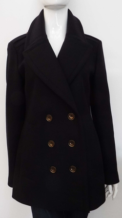 DOUBLE BREASTED NAVY WOOL COAT