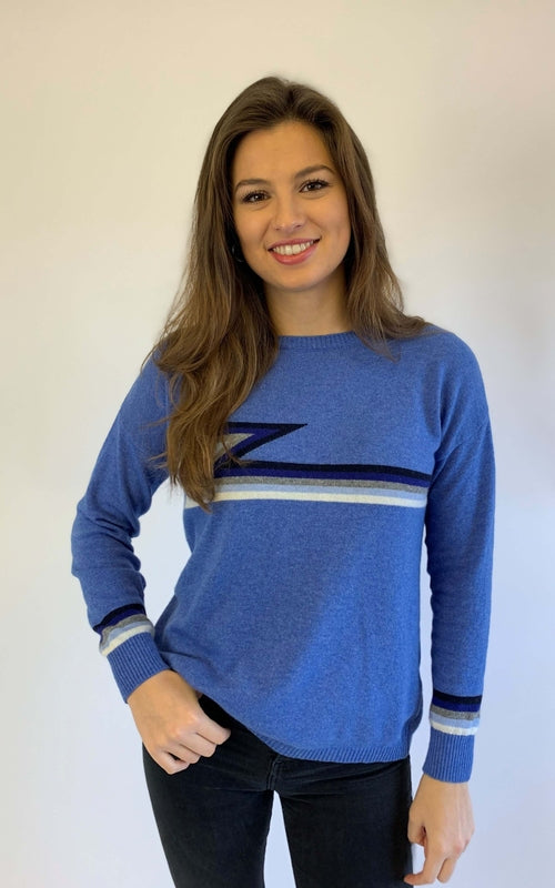 ZIGGY BLUE CASHMERE MIX SWEATER