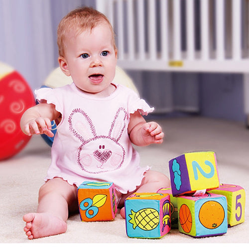 Infant Baby Soft Cloth Cube Building Blocks Kids