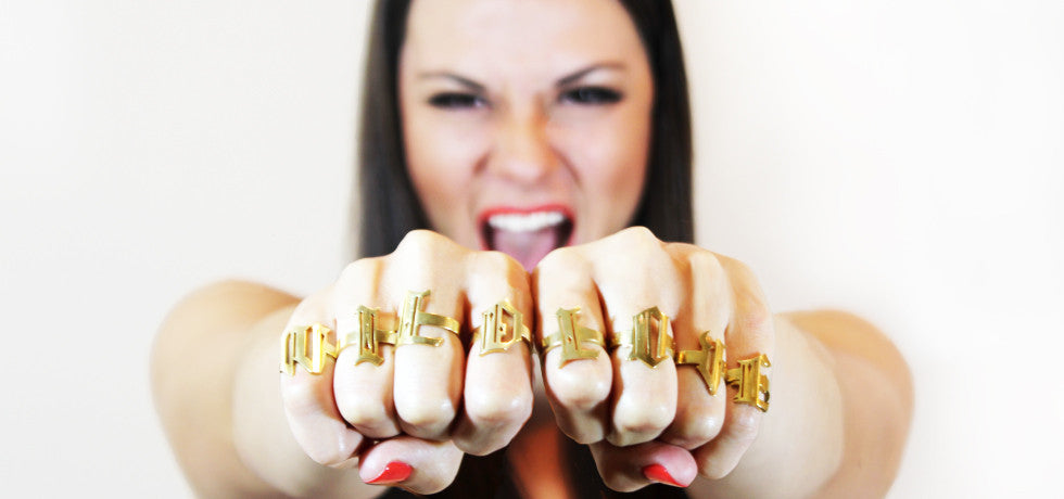 W-I-L-D L-O-V-E.  Double fisting... nice! Knockout Letter Ring Sets by Jorie Breonn.