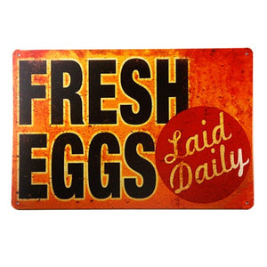 SIGN Fresh Eggs  Metal Decor Art Chicken Coop Kitchen