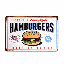 Load image into Gallery viewer, Shabby chic Tin Metal Signs Hamburgers Hot Dog Cake Beer Bar Coffee Restaurant Poster iron Painting