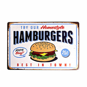 Shabby chic Tin Metal Signs Hamburgers Hot Dog Cake Beer Bar Coffee Restaurant Poster iron Painting