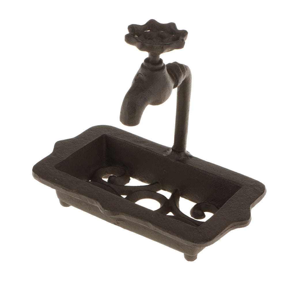 Countryside Primitive Farmhouse  Cast Iron Water Faucet Soap Dish Holder