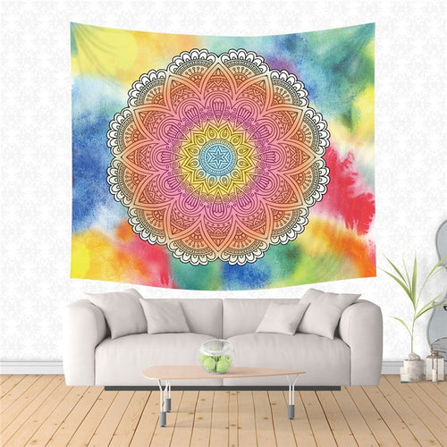 CASEGRACE Boho Style Wall Tapestry Colorful Mandala Tapestry Bohemian Decor Table Cloth Printed With Polyester Dorm Decor