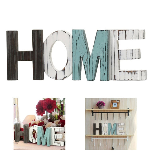 Wooden Sign Shabby Chic Vintage Whitewash  HOME Letters Freestanding Home Decor Festival Party Supplies