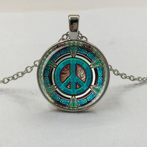 1Pcs Hippie Peace Sign Glass Dome Pendant Necklace DIY Handmade Fashion Jewelry Vintage Charm Trendy Gift for Men Women gift