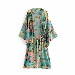 Green Floral Print Bird Women Kimono  Batwing Sleeve Loose Boho Clothing Top