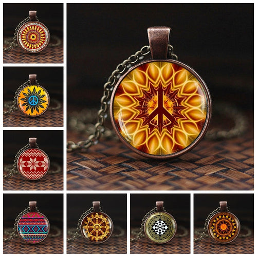 Hippie Peace Sign Glass Dome Pendant Necklace DIY Handmade Fashion Jewelry