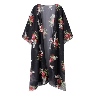 Plus Size 4XL 5XL Women Chiffon Kimono Cardigan Floral Print Asymmetric Boho Loose Casual Outerwear Beachwear Cover Up Blusas
