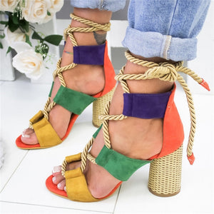 Women New Sandals Women High Heel Peep Toe Lace Up Multi Color Boho Hippie