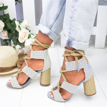 Load image into Gallery viewer, Women New Sandals Women High Heel Peep Toe Lace Up Multi Color Boho Hippie