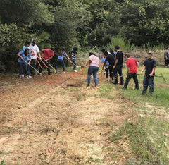 Students work to clear vegetation in preparation of planting a wildlife food plot.