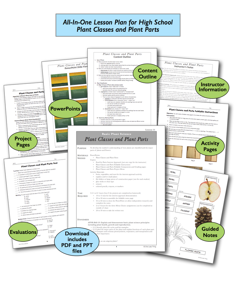 Plant Classes and Parts High School, All-In-One Lesson Plan Download