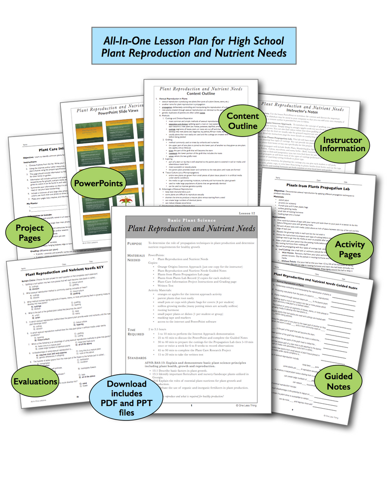 Plant Reproduction and Nutrient Needs High School, All-In-One Lesson Plan Download