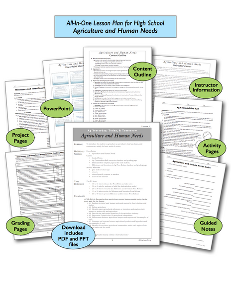 Ag and Human Needs, All-In-One Lesson Plan Download