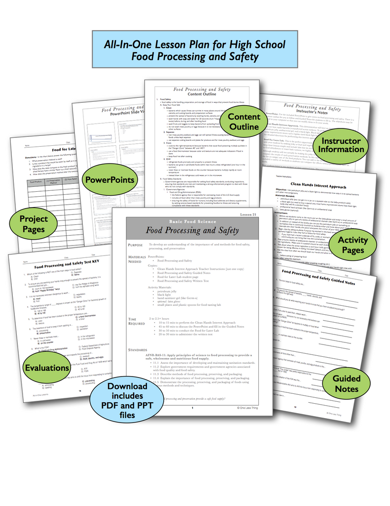 Food Processing and Safety High School, All-In-One Lesson Plan Download
