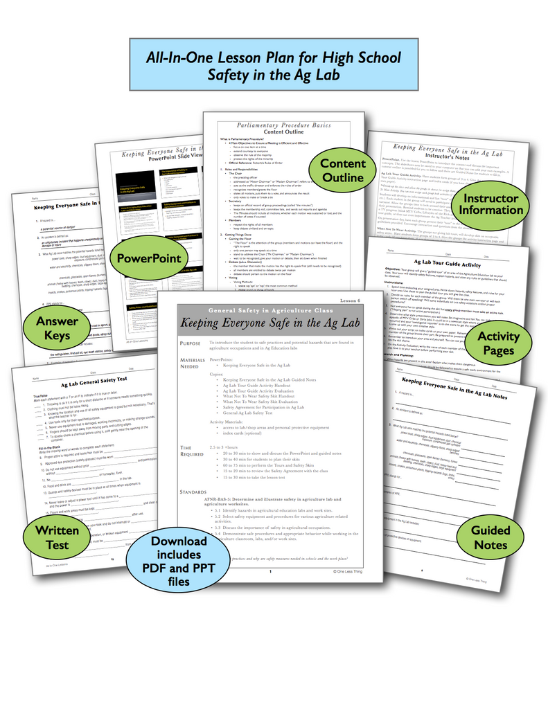 Safety in Ag Lab High School, All-In-One Lesson Plan Download