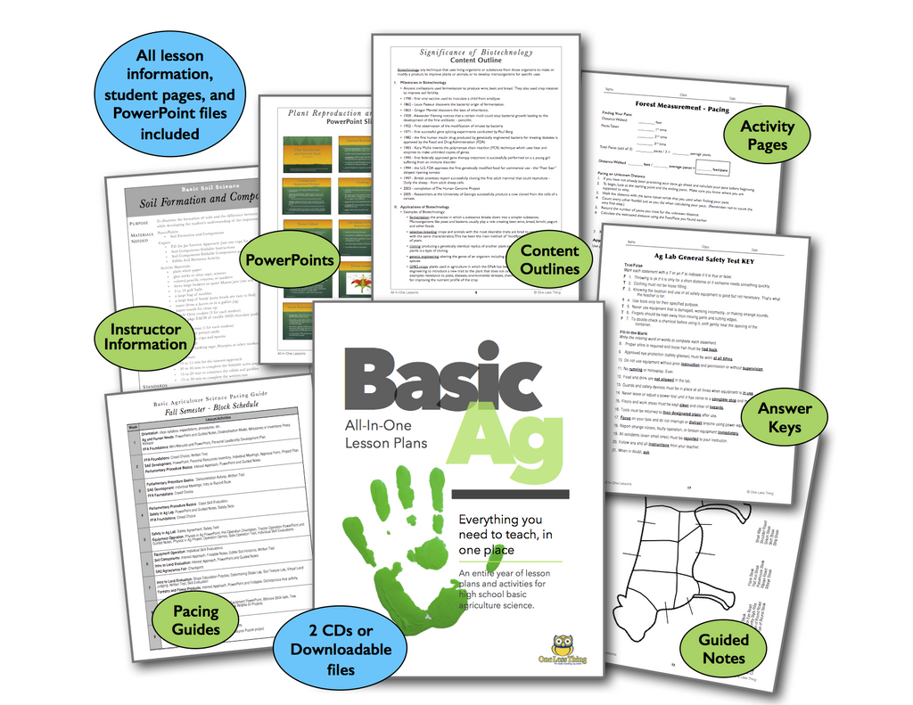 *Basic Ag High School, All-In-One Lesson Plans (Printed Copy Included)