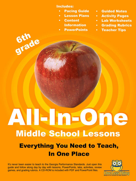 *Middle School 6th Grade, All-In-One Lesson Plans (Print Copy Included)