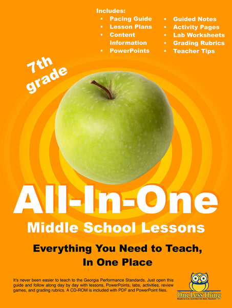*Middle School 7th Grade, All-In-One Lesson Plans (Printed copy included)