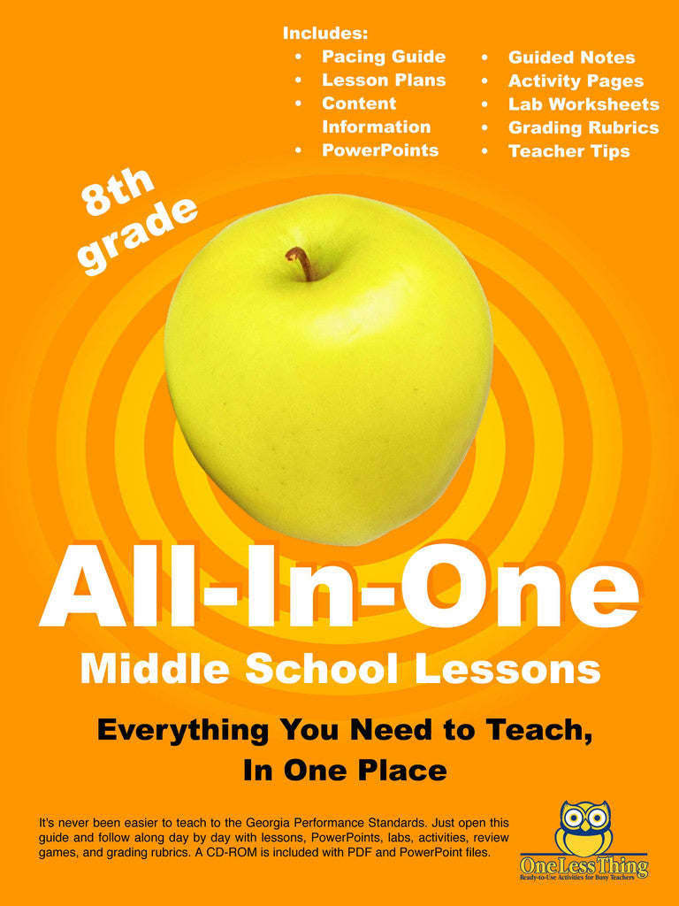 *Middle School 8th Grade, All-In-One Lesson Plans (Printed copy included)