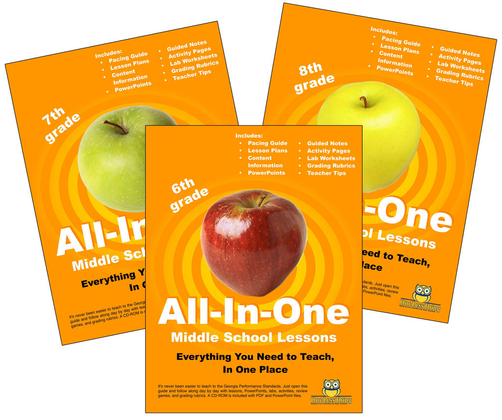*Middle School Package, All-In-One Lesson Plans (Printed copy included)