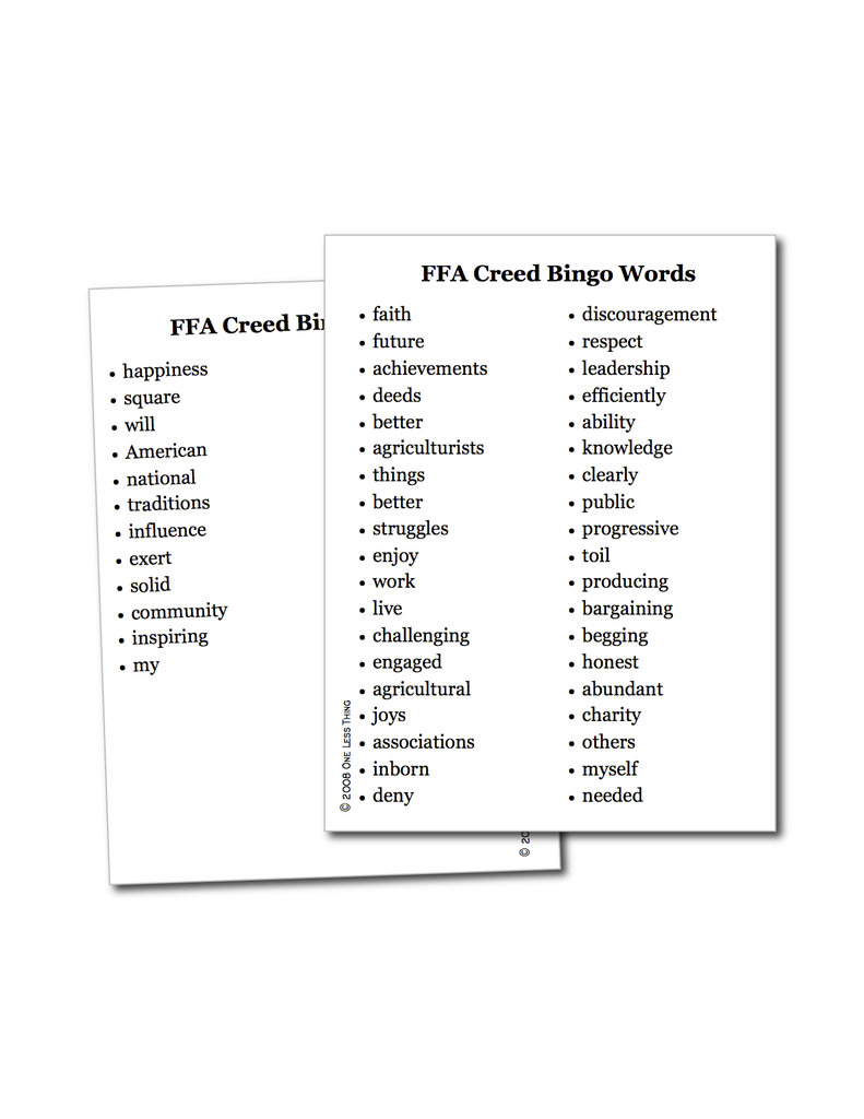 Worksheets Ffa Creed Worksheet ffa creed bingo one less thing bingo