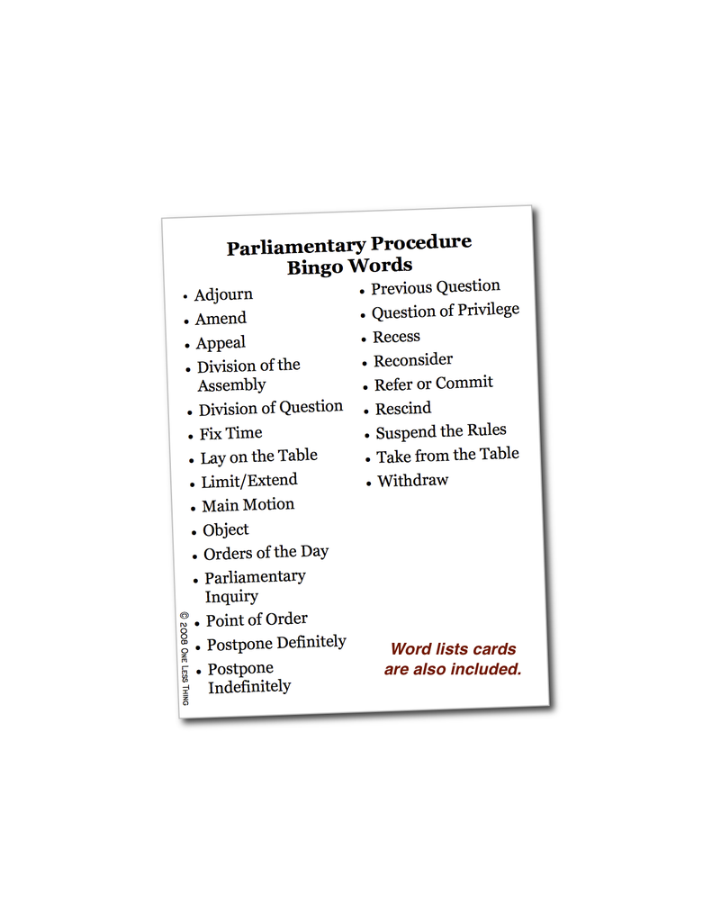 Parliamentary Procedure Unit Set, Digital download