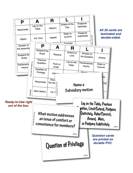 Parliamentary Procedure Bingo, Digital download