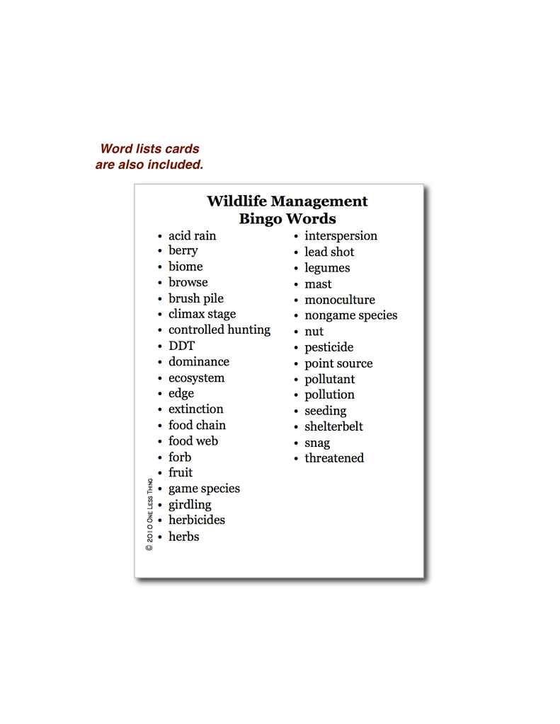 Wildlife Management, Bingo