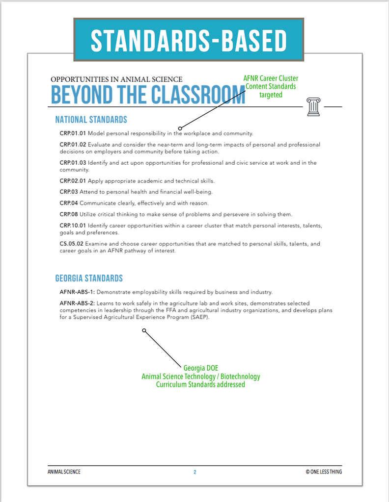 CCANS1.2 Beyond the Classroom, Animal Science Complete Curriculum