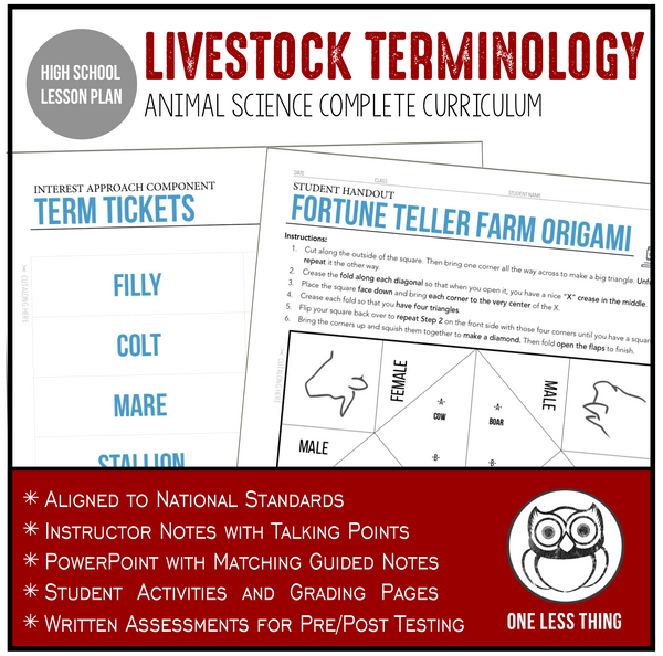 CCANS3.1 Livestock Terminology, Animal Science Complete Curriculum