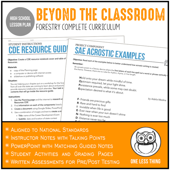 CCFOR1.2 Beyond the Classroom, Forestry Complete Curriculum