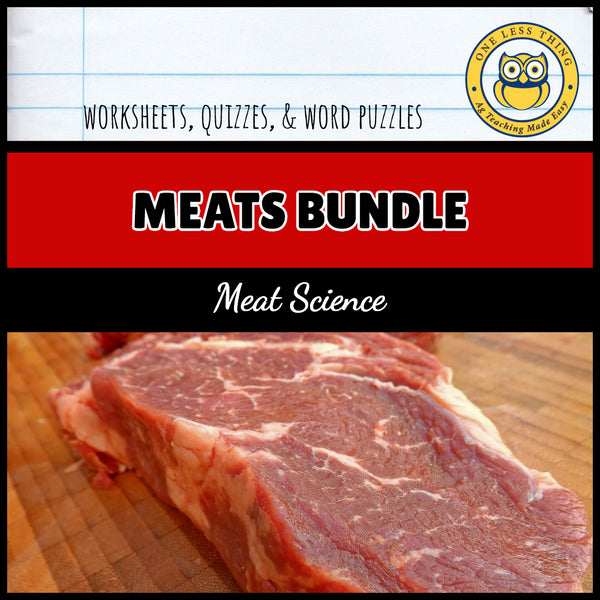 Meat Science Industry Worksheet Set, AgTivities