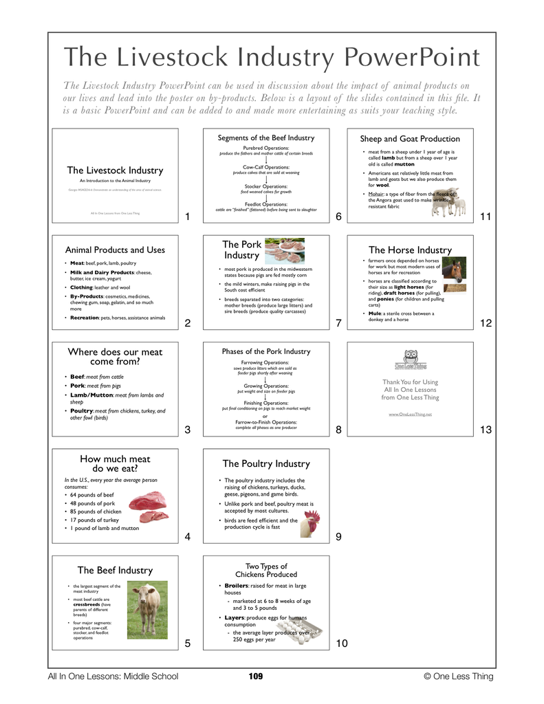 6-10 The Livestock Industry, Lesson Plan Download