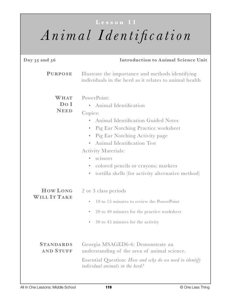 6-11 Animal ID Systems, Lesson Plan Download - One Less Thing