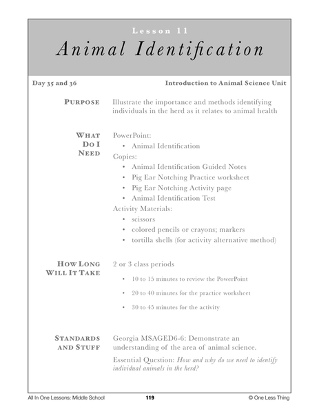 6-11 Animal ID Systems, Lesson Plan Download