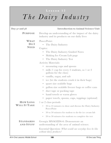 6-12 The Dairy Industry, Lesson Plan Download