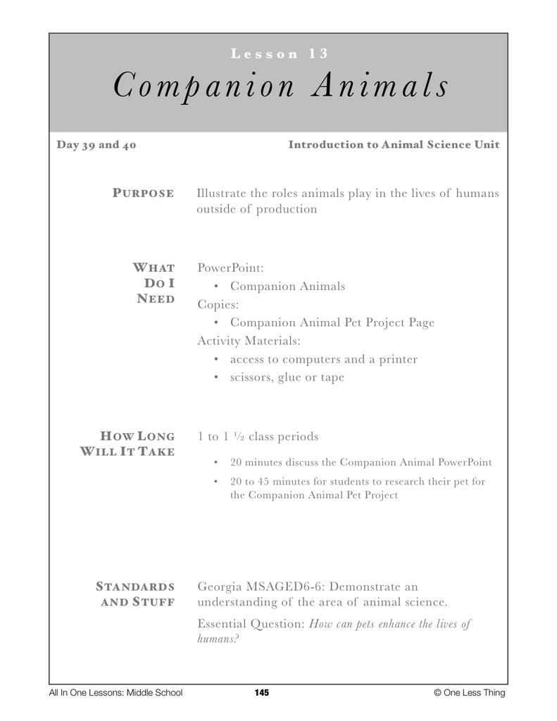 6-13 Intro to Companion Animals, Lesson Plan Download - One Less Thing