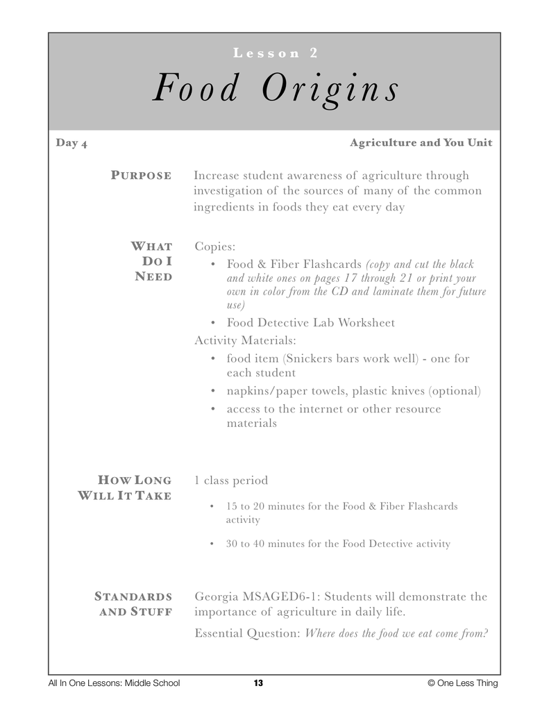 6-02 Food Origins, Lesson Plan Download