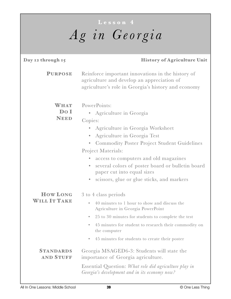 6-04 Ag in Georgia, Lesson Plan Download