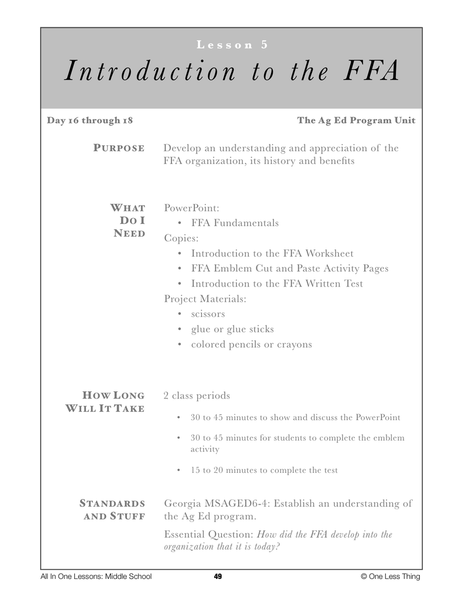 6-05 Intro to the FFA, Lesson Plan Download