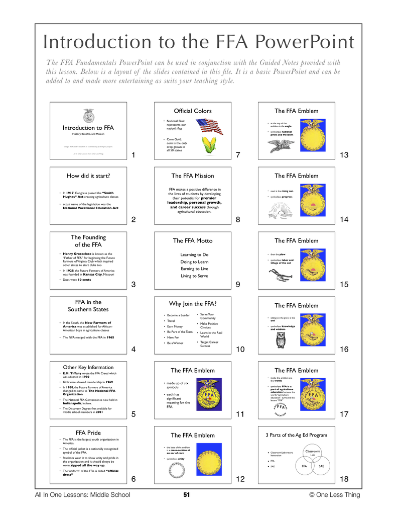 Printables Ffa Emblem Worksheet 6 05 intro to the ffa lesson plan download one less thing download
