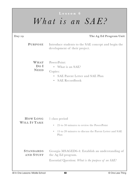 6-06 What is an SAE, Lesson Plan Download