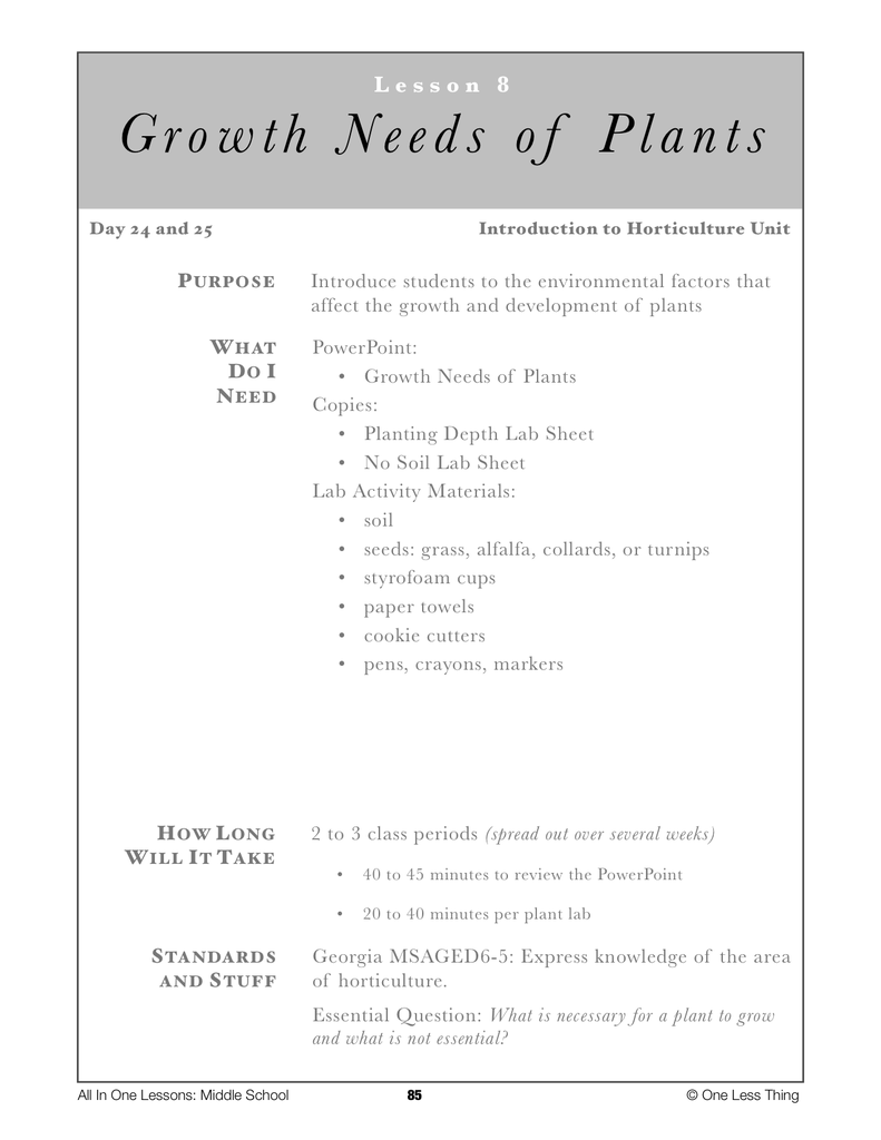 6 08 growth needs of plants lesson plan download one less thing